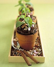 Flower Pot Cake - We used six unglazed, untreated terra-cotta flowerpots (each with a six-ounce capacity, about 3 inches tall and 3 1/2 inches across the top). Thoroughly wash the new pots in hot water before using.