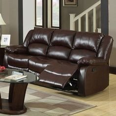 Furniture of America Winslow Collection 83 Inch Reclining Sofa with Split Back Cushions, Pillow Top Arms, Transitional Style and Bonded Leather Match Upholstery in Dark Brown Color Leather Reclining Sofa, Leather Recliner, Leather Sofa, Bonded Leather, Reclining Sectional, Brown Leather, Home Decor Furniture, Living Room Furniture, Transitional Sofas