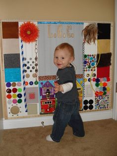 Create a Sensory Board (hmmm.open door puzzle, hanging linked balls, something… Sensory Wall, Sensory Boards, Baby Sensory, Sensory Activities, Infant Activities, Activities For Kids, Home Daycare, Daycare Rooms, Toddler Classroom
