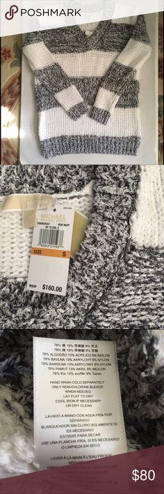 "Michael Kors navy/white oversized v sweater NWT Soft mid-weight cotton/acrylic skin navy blue and white oversized striped v-neck sweater. Approx 26""L, arm inseam 18""L, rat-lt shoulder 18""L. Michael Kors Sweaters V-Necks"
