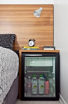 fridge as a nightstand // can be used in the bedroom but, for consistency reasons, keep to more proactive areas where work gets done.