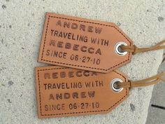 Featured in Country Living – His and Hers – Anniversary – Personalized – Traveling with… since Leather Luggage Tags – set of 2 - Baby Travel Wedding Gifts, Great Wedding Gifts, Wedding Things, Wedding Anniversary, Anniversary Gifts, Leather Luggage Tags, Client Gifts, Unique Weddings, Wedding Inspiration