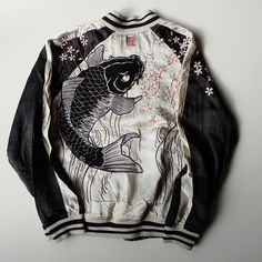 Karakuri Tamashi Japanese Koi Fish Swag Punk Rock Sakura Tattoo Art Souvenir Sukajan Jacket Art - Japan Lover Me Store varsity fashion interesting WWE gear Punk Fashion, Womens Fashion, Japanese Koi, Japanese Street Fashion, Lookbook, Mode Style, Punk Rock, Dress To Impress, Tattoo Art