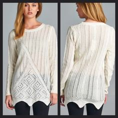 Ivory Knit Sweater Lightweight and cute! Please ask me for a custom listing with your size. 100% acrylic. Price firm unless bundled. I offer bundle discounts on two or more items! Boutique Sweaters Crew & Scoop Necks