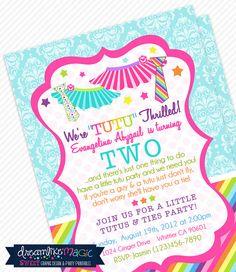 Printable Party InvitationRainbow Tutus and Ties by DreamlikeMagic, $13.00