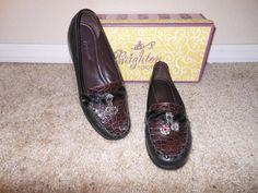 Brighton Black/ Chocolate patent and Moc Croc Magic LOAFERS Size 6.5 #Brighton #MAGIC #any
