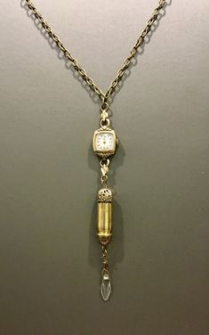 Excited to share this item from my shop: Vintage Buren Ladie's Watch with Repurposed Brass Casing Necklace Bullet Shell Jewelry, Bullet Casing Jewelry, Bullet Necklace, Washer Necklace, Ammo Jewelry, Metal Jewelry, Jewelry Art, Jewelry Ideas, Jewelery