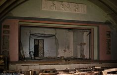 This massive hall was built in the Slovak town of Cierna nad Tisou during the post-war Communist era but has since fallen into disrepair, having been disused for years. Abandoned Mansions, Abandoned Buildings, Abandoned Places, Inside Home, Back In Time, Staging, Gypsy, Traveling, Cinema