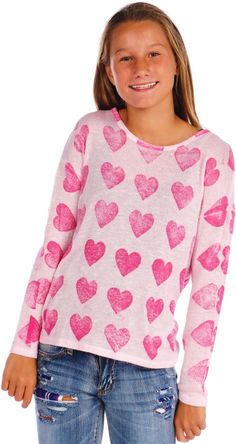 Vintage Havana Heart Printed Frayed L/S Top Vintage Havana, Beautiful Little Girls, Two Girls, Affordable Clothes, Heart Print, Sophisticated Style, Beautiful Outfits, Fashion Forward, Long Sleeve Tops