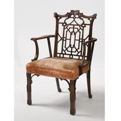 A George III mahogany 'Chinese' open armchair after a design by Thomas Chippendale<br>Circa 1765 Oriental Furniture, Fine Furniture, Quality Furniture, Furniture Design, Georgian Furniture, Antique Furniture, Art Nouveau, Love Chair, Single Chair