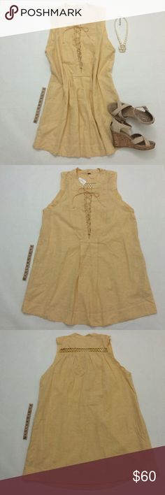 """Free People Poppin Off dress Poppin Off dress in Saffron combo, yellow and white striped dress, size M, overall length 35"""", waist 24"""" across, bust armpit to armpit 21"""", meant to be worn loose or add a belt (not included), no inner lining, 55% linen/45% cotton, machine wash cold. No zippers. Side pockets! Brand new with tags so it's in excellent condition. No damage/fraying/stains. Has been stored in a non-smoking/pet-free home. Necklace and shoes not included. No trades or PP. *15% off…"""