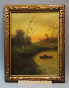 Able 1927 Ernst Gosta Reimers Painting On Canvas With Personal Message Picture Frame Antiques