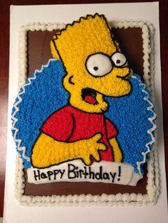 Bart Simpson cake! Birthday Cakes, Birthday Ideas, Birthday Parties, Bolo Simpsons, Torta Angry Birds, Simpsons Videos, Bart Simpson, Cake Ideas, Birthdays