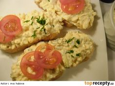 Moje vaječná pomazánka Baked Potato, Potatoes, Meat, Chicken, Baking, Ethnic Recipes, Food, Czech Recipes, Potato