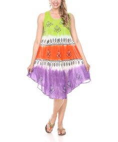 Look at this #zulilyfind! Orange & Green Arabesque Tie-Dye Shift Dress #zulilyfinds