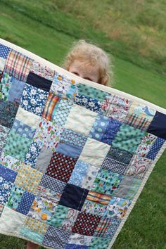 "Scrap quilt for child/baby...     You need to cut 28 of the 5""x 5"" and 56 of the 5"" x 2.75"".   Make sure you cut consistently.    You will also need 1 yard of UNWASHED cotton flannel, an iron, sewing machine, rotary cutter and mat, and coordinating thread."