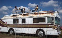 Jody Potter Talladega weekend on top of the bus means work for these guys. An old Blue Bird commercial bus caught my attention as I cruised through the infield area at Talladega Superspeedway on Friday. Rust and flaking paint are...