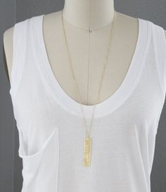 Mesh Bar Necklace Long Layering Necklace 27 inch by junghwa