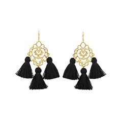 Marte Frisnes Rita tassel earrings (230 CAD) ❤ liked on Polyvore featuring jewelry, earrings, black, polish jewelry, bohemian earrings, filigree jewelry, boho jewelry and bohemian jewelry