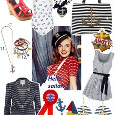 Summer Look: Nautical Fashion! Transform into a sailor pinup girl with casual dressy classics accented with patriotic colors and naval inspired design! Be the captainess of the yacht or sailboat with these retro resort navy striped jute wedge espadrilles!