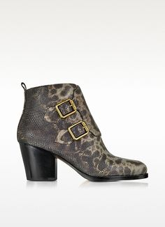 marc by marc jacobs grey printed snake leather ankle boot