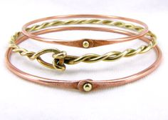 Copper And Brass Bangle Set Of Three Mixed Metal by Cuprum29, $46.00 #gifts for her #group2020