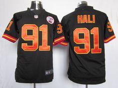 Men's Nike NFL Kansas City Chiefs #91 Tama Hali Black Alternate Stitched Game Jerseys