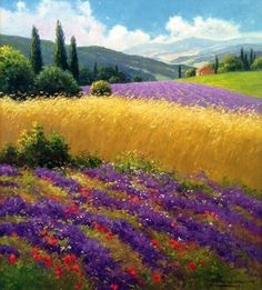 "GERHARD NESVADBA - Paintings""Wheatfield & Mountain View"" by Gerhard Nesvadba Oil On Canvas ~ love the striking gold and purple, the blue sky, and the motion of the wheat - you can almost hear it rustling in the breeze! Watercolor Landscape, Landscape Art, Landscape Paintings, Watercolor Art, Canvas Paintings, Landscape Architecture, Pastel Art, Belle Photo, Beautiful Landscapes"