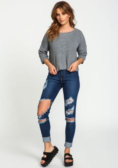 GREY CHUNKY KNIT CROPPED SWEATER Site Master, Love Culture, Cropped Sweater, Skinny Jeans, Knitting, My Style, Grey, Sweaters, Pants