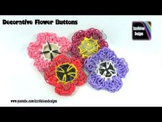 Rainbow Loom Decorative Flower Button - Loom-less/Hook Only - © Izzalicious Designs 2014 Rainbow Loom Tutorials, Rainbow Loom Creations, Loom Band Charms, Loom Bands, Loom Flowers, Rainbow Band, Rainbow Loom Charms, Flower Button, Loom Beading