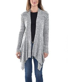 Another great find on #zulily! Cream & Gray Open Cardigan #zulilyfinds