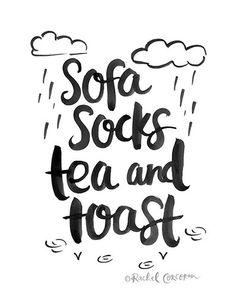 SOFA SOCKS Tea and Toast  Typographic Print  by Rachillustrates
