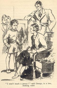 'Five on a Treasure Island' by Enid Blyton - The Famous Five with George's parents, Quentin and Fanny. The Famous Five, Children's Book Illustration, Book Illustrations, Enid Blyton, Book Challenge, Vintage Children's Books, Space Crafts, Old English, Childhood Memories