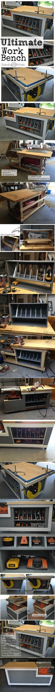 Ted's Woodworking Plans - Ultimate Work Bench Get A Lifetime Of Project Ideas & Inspiration! Step By Step Woodworking Plans Workshop Storage, Workshop Organization, Home Workshop, Garage Workshop, Workshop Ideas, Urban Workshop, Woodworking Workshop, Woodworking Bench, Woodworking Shop