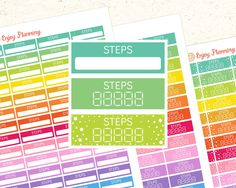 Printable Steps Planner stickers Steps stickers Steps Printable Planner stickers Erin Condren Happy Planner Health stickers Running Fitness by EnjoyPlanning on Etsy