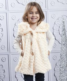 Take a look at this Apricot Faux Fur Lace Vest - Toddler & Girls by Mia Belle Baby on @zulily today!