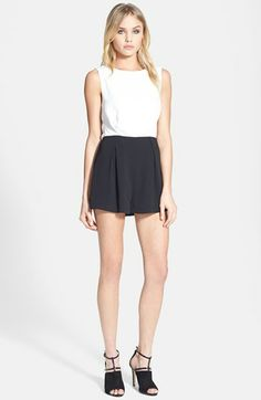 Topshop Colorblock Lace Back Romper available at #Nordstrom
