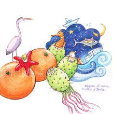 raffaelladivaio*illustrazione e creatività: I COLORI DEL MEDITERRANEO zàgare di mare, meduse d'India. matite e matite acquerellabili su carta Arches, cm. 24x24 ©raffaelladivaio.com