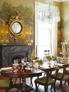 Historic dining room with mural walls and antiques - Gil Shaefer in Charleston