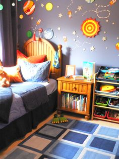 My son's crazy space room by Kari de Lavenne Design.    www.delavennedesign.com