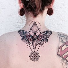 Love this Butterfly and Pyramid again-neck tattoo ~ Tattoo Geek - Concepts for greatest tattoos