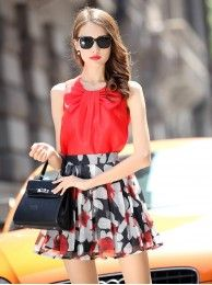 Two Piece Dress Bowknot Shirt And Floral Printed Skirt