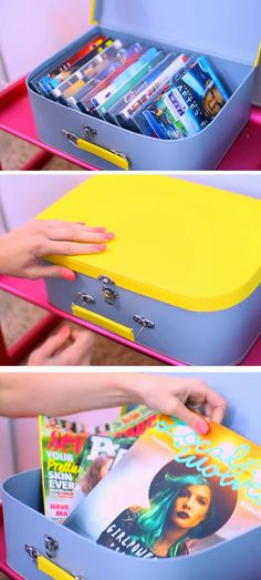 The best DIY projects & DIY ideas and tutorials: sewing, paper craft, DIY. Ideas About DIY Life Hacks & Crafts 2017 / 2018 Mini Suitcases Make Great Storage Displays Girls Bedroom Organization, Diy Organization, Organising Ideas, Diy Room Decor For Teens, Diy Bedroom Decor, Bedroom Ideas, Bedroom Inspiration, Diy For Girls, Diy For Teens