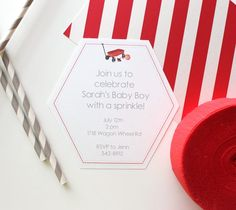 Toys Baby Shower Invite by Kori Clark. Make It Now with the Cricut Explore machine and Print then Cut feature in Cricut Design Space.