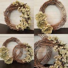 Grapevine Wreaths with Flowers #goldenforrest #goldenforrestcreations #wreathideas #wreath #handmade #grapevine @bycurated @createbycurated @goldenforrest