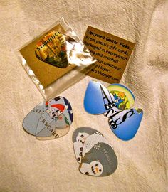 Upcycled Guitar Picks Uniquely Packaged Set of 3