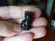 (Y-CAT-SI-506) Sitting KITTY CAT cats gemstone gem BLUE STONE carving kitties