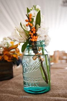 Mason Jars add the perfect rustic feel great for #fall and #thanksgiving- DIY Centerpieces #Jellifi www.Jellifi.com