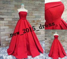 New Style Satin Long Evening Dress Formal Ball Gown Party Prom Evening Gowns  #Handmade #BallGown #Formal