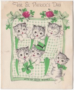 Vintage Greeting Card St. Patrick's Day Cat Kittens Norcross 1940s a084